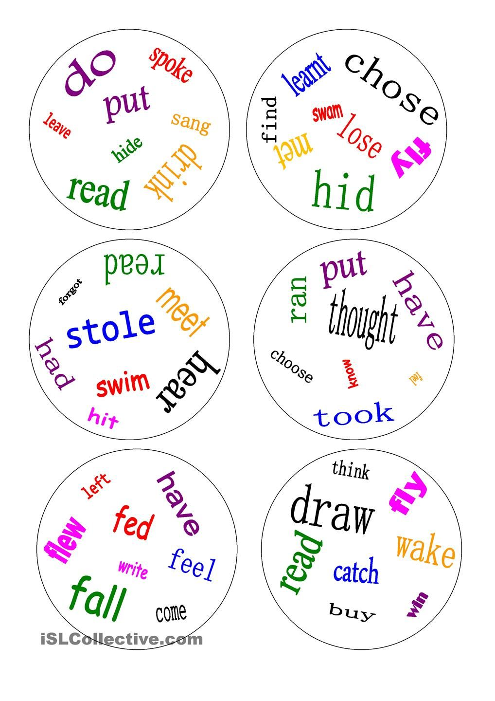 Worksheets For Fourth Grade Pdf Printable Irregular Verbs Wheel   Pinteres Life Cycle Of A Grasshopper Worksheet Excel with Sentence Structure Worksheets High School Excel Dobble  Irregular Verbs  A Game Squid Dissection Worksheet