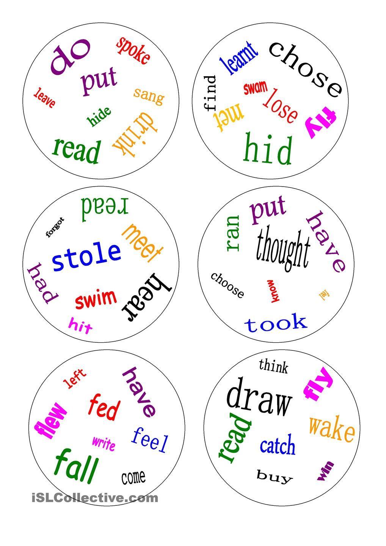 Dobble - irregular verbs - a game | ESL | Pinterest | Irregular ...
