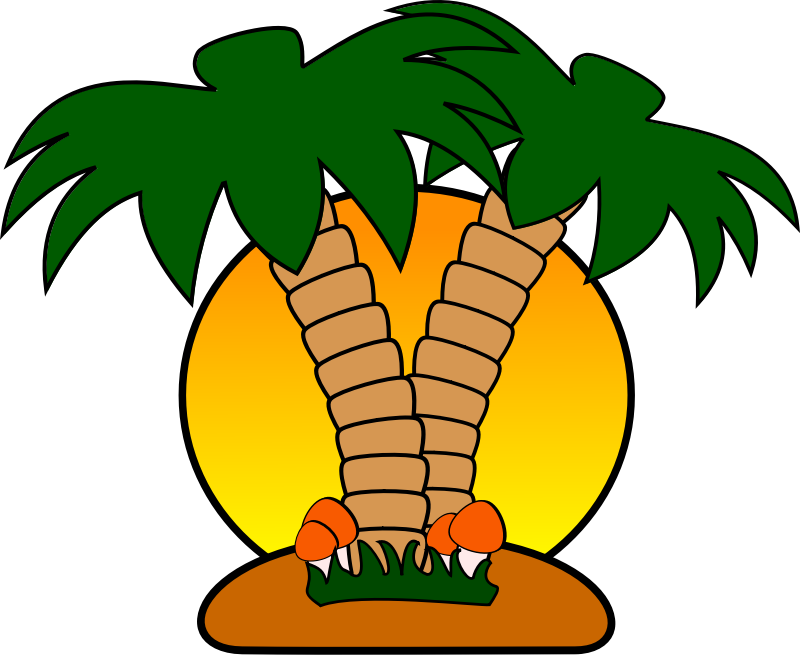free tropical island with palm trees clip art art clip art rh pinterest com tropical island clipart black and white Tropical Beach Clip Art
