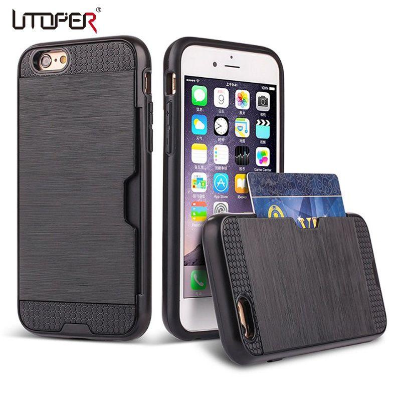 대한 iphone 7 case metalic 실리콘 플라스틱 coque iphone 6 s case 하이브리드 커버 iphone se case 카드 홀더 슬롯 전화 case