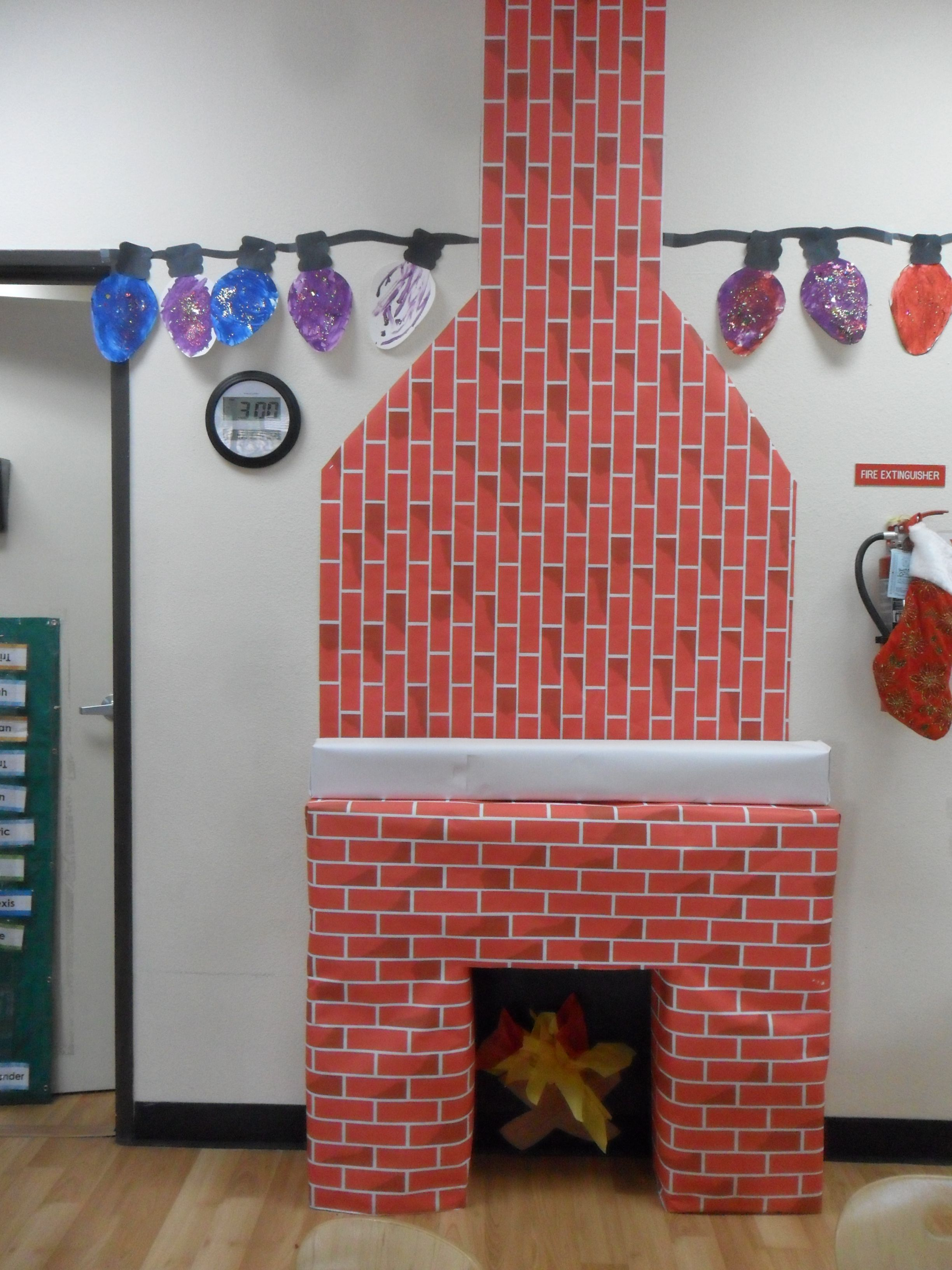 fireplace made of boxes and brick paper roll from michaels store rh pinterest com
