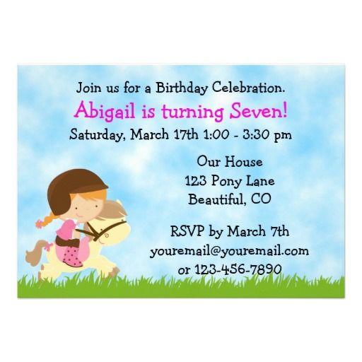 Horse birthday invitation for girls horse birthday horse and horse birthday invitation for girls filmwisefo