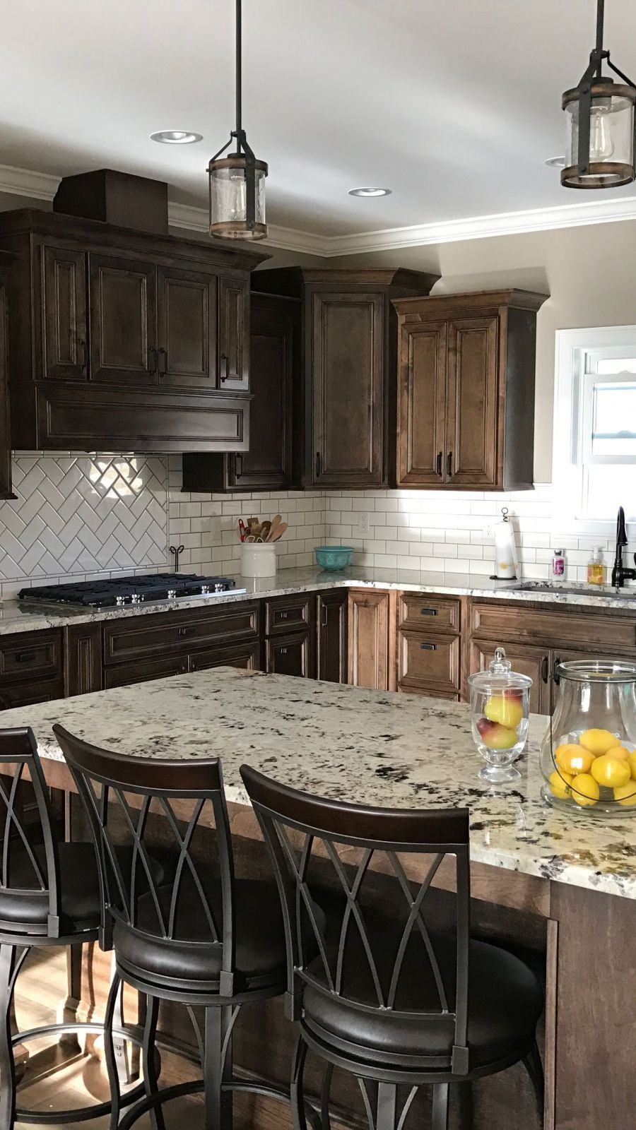 Dark Walnut Kitchen Cabinets In 2020 Walnut Kitchen Walnut Kitchen Cabinets Kitchen Cabinet Remodel