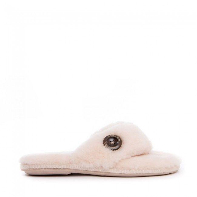 f60e1610f Keira - Sheepskin Flip Flop Slippers - Natural - Side