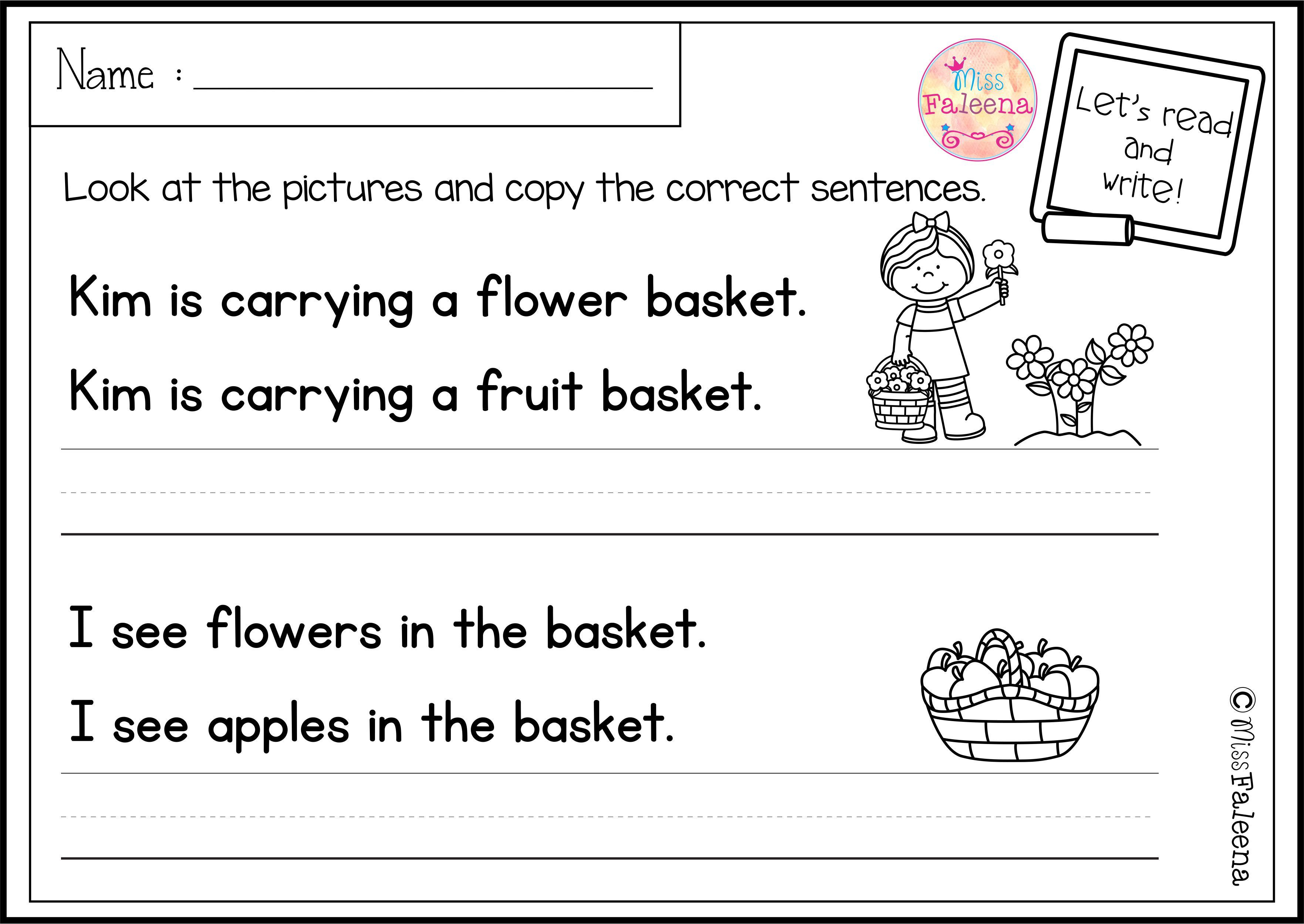 small resolution of There are 20 pages of sentence writing worksheets in this product. These  pages are great for pre-K