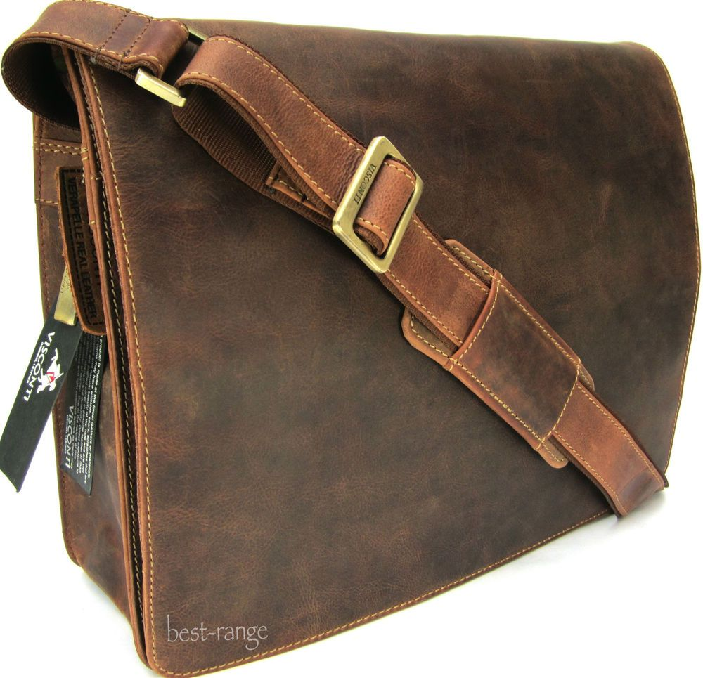 Large Messenger Shoulder Bag Real Leather Tan Visconti Harvard