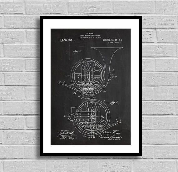 French horn patent french horn patent poster french horn blueprint french horn patent french horn patent poster french horn blueprint french horn print band decorvintageorchestra musician giftmusic by malvernweather Choice Image