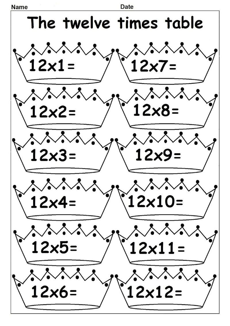 12 Times Table Worksheet Crown In 2020 With Images Times Tables Worksheets Math Worksheets Multiplication