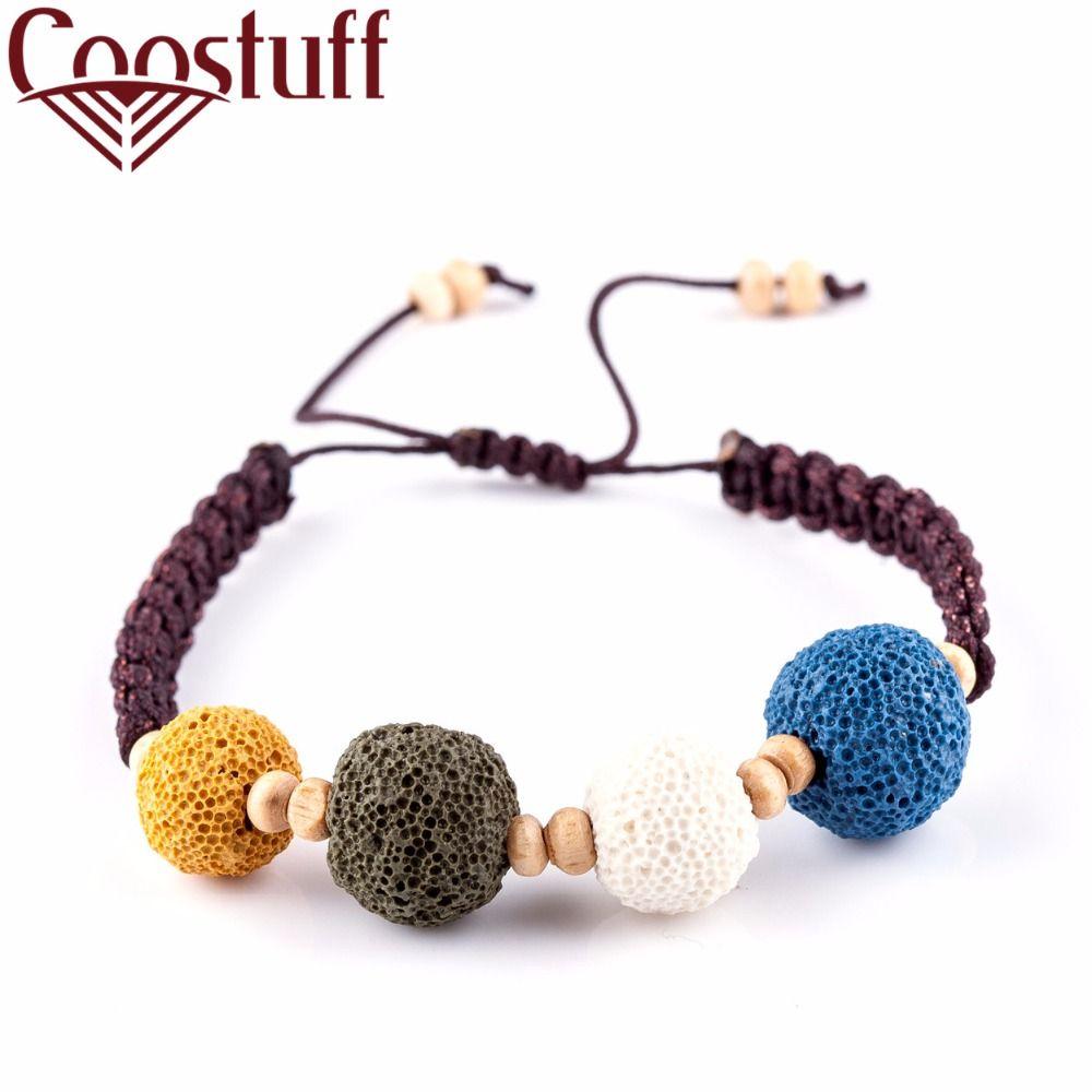 Handmade nature lava stone beads men bracelet beautiful bangles