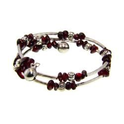 Tibetan Silver Garnet Bead Bangle Bracelet | $19.99 #Jewelry #Shine #Sparkle #Bling | Visit WISHCLOUDS.COM for more…
