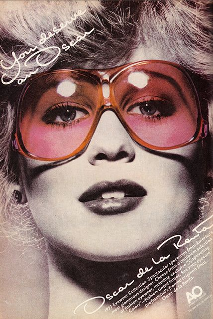 1970s Fashion Ad, Oscar de La Renta Sunglasses, 1977 Eyewear Collection