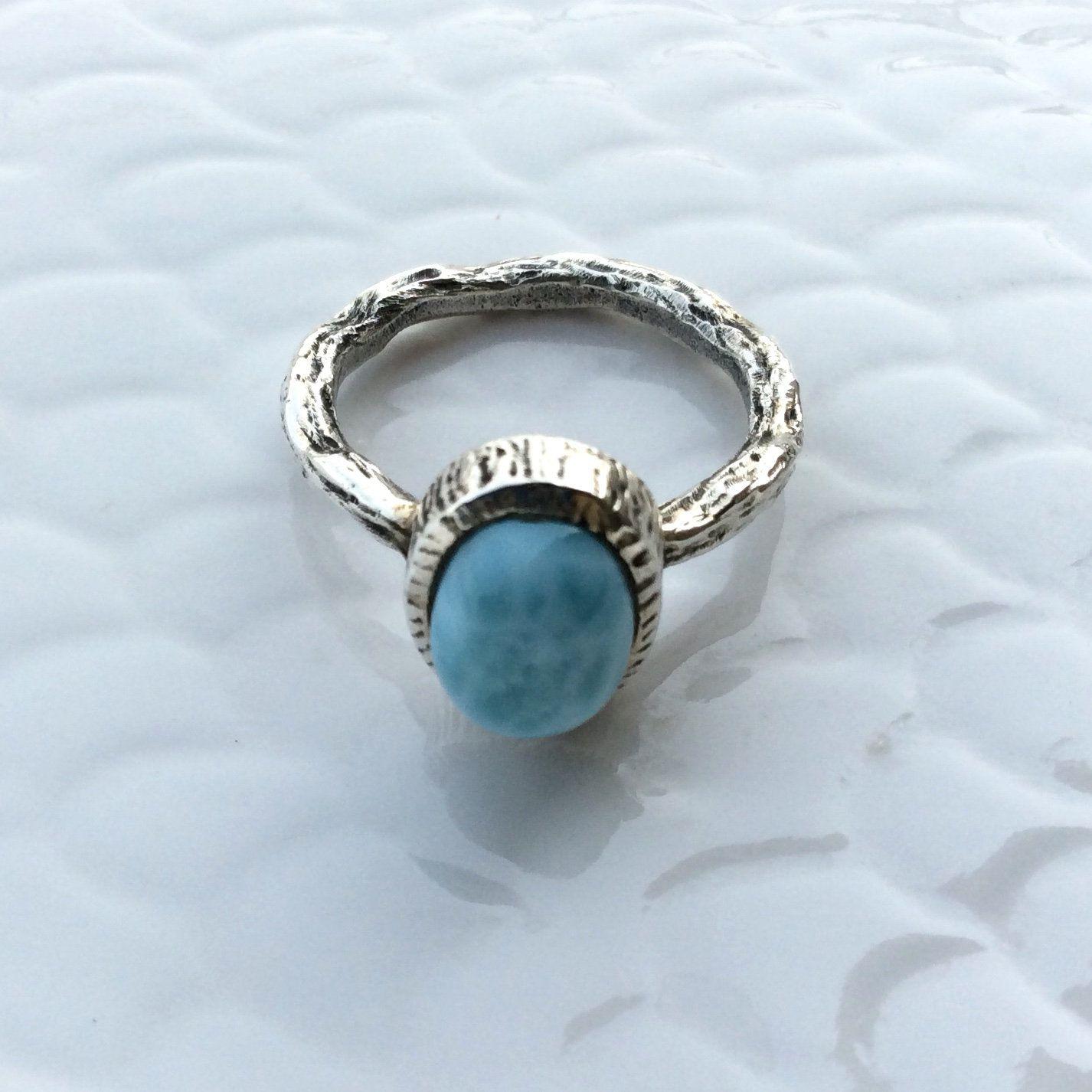 Larimar Ring Larimar Ring Size 6 50 Natural Larimar Gemstone Etsy Gold Diamond Wedding Band Raw Gemstone Jewelry Diamond Wedding Bands