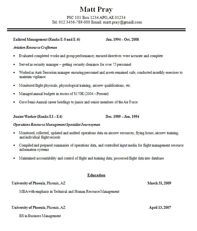 Military Resume Examples - Military Resume Examples we provide as - military resume example
