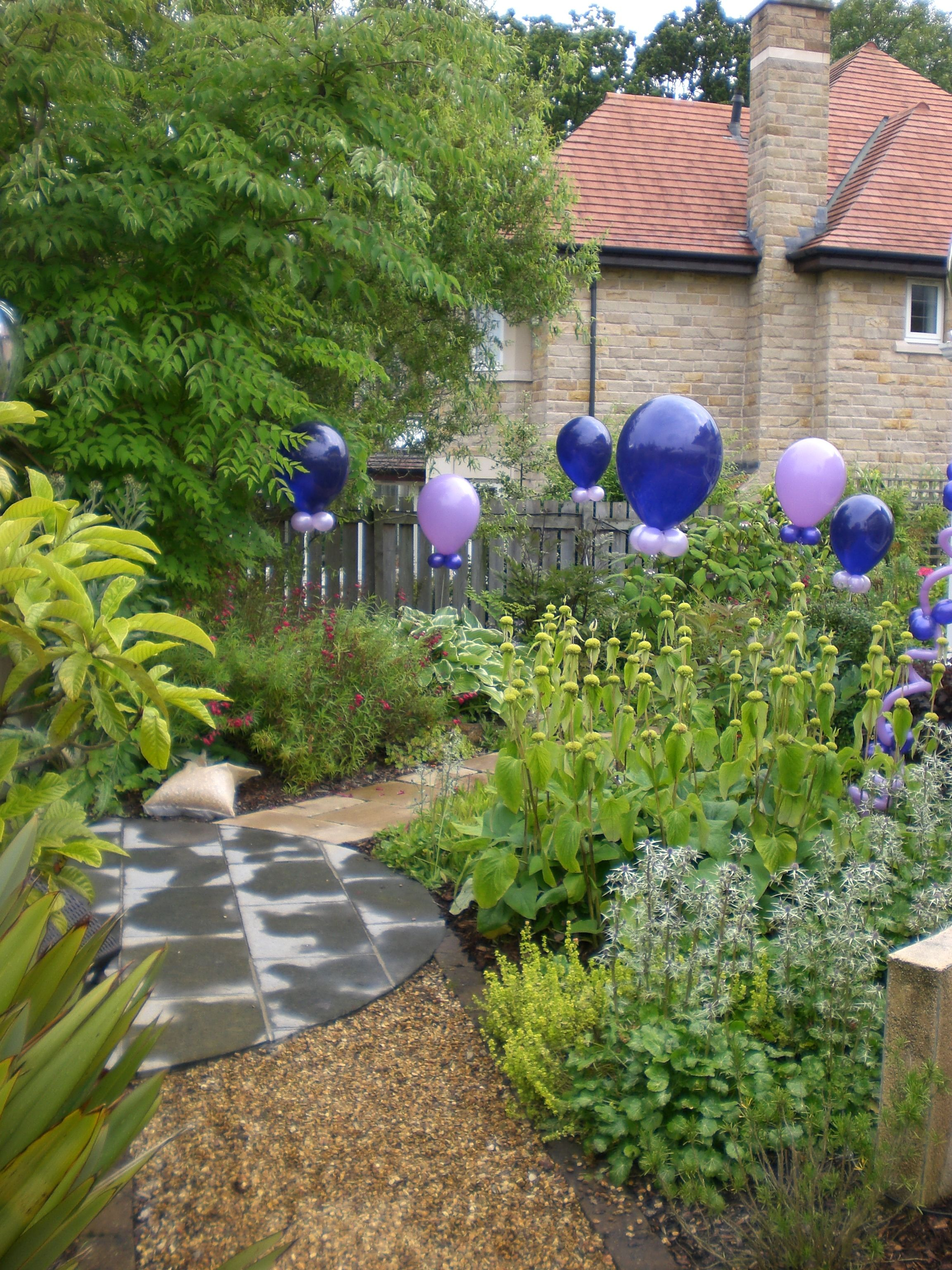 garden party lush green grass balloons purple lilac | birthday ...