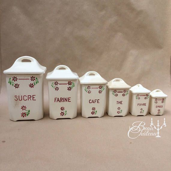 Full set of vintage French Ceramic Kitchen Storage Containers Jars