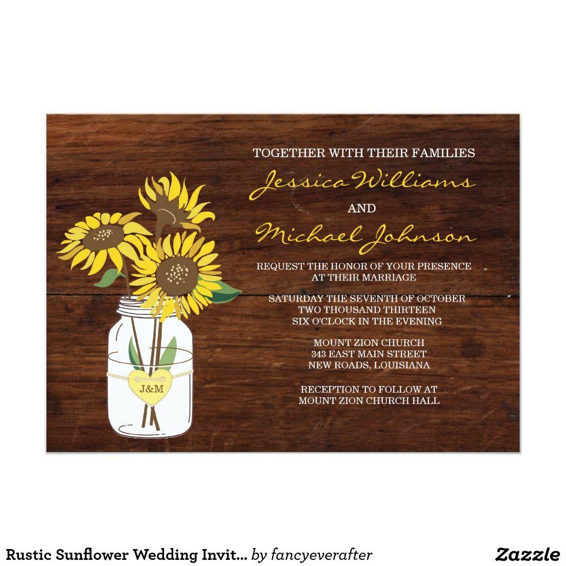 rustic sunflower wedding invitation sunflower wedding invitations