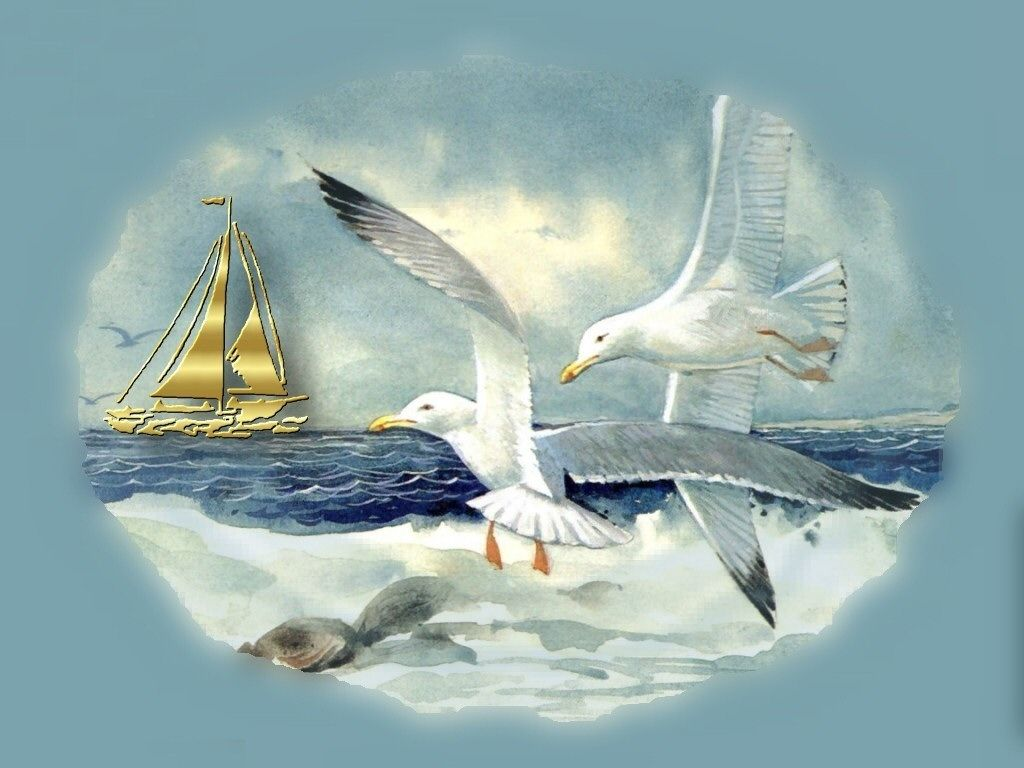 seagulls in flight | Seagulls in Flight, art, beach, bird, ocean, painting, sail, sea ...