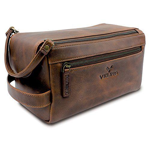 9453dbc5cc10 Velino Handmade Genuine Buffalo Leather Unisex Toiletry Bag Travel Dopp Kit  Grooming and Shaving Kit ~