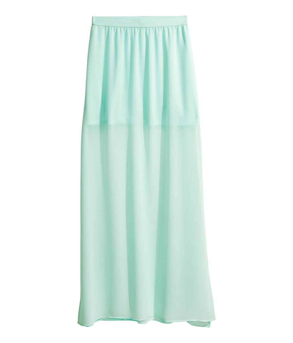 mint green maxi skirt in airy chiffon with high side slits