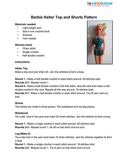 Barbie Shorts and Top Pattern Thumb