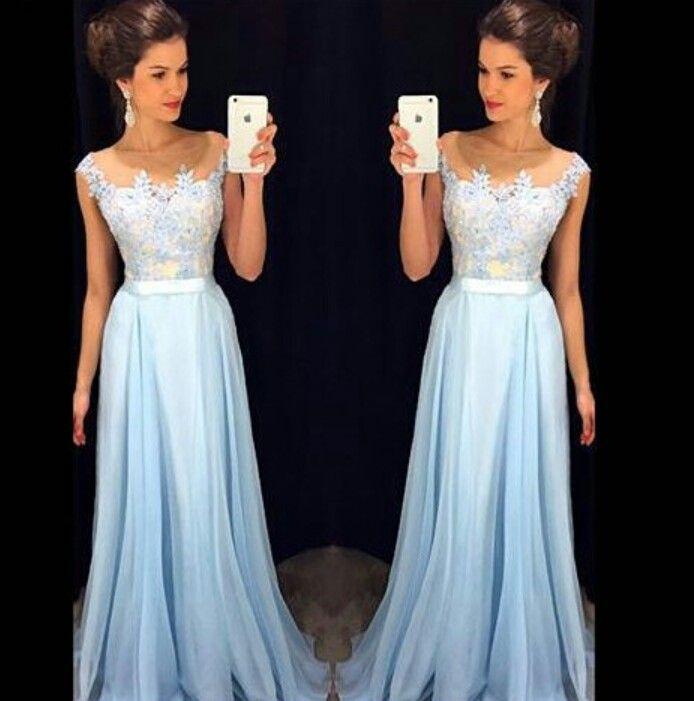 Cool Prom Dresses Vestido de festa. Azul claro. Renda. Cintura ...