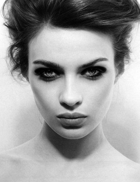 Smokey eye makeup black and white photo