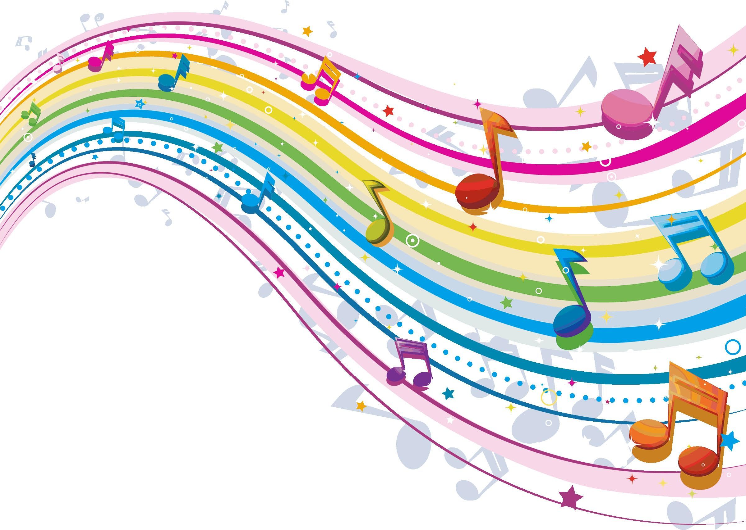Colorful Music Notes 3D Wallpaper