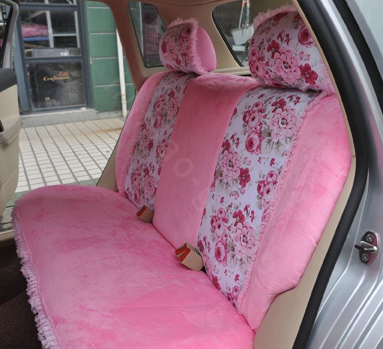 Bow Lace Universal Auto Car Seat Cover Set Short Velvet 19pcs Pink L2 Jpg 750 683 Car Seat Cover Sets Pink Car Seat Covers Girly Car Seat Covers