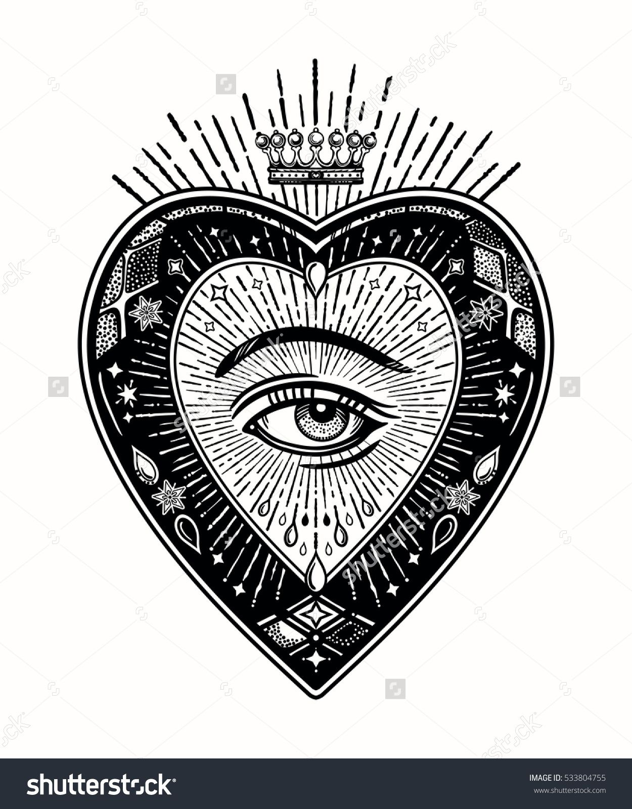 Ornate Mystic Eye Inside The Decorative Heart Vintage Alchemy And Gothic Style Inspired Art
