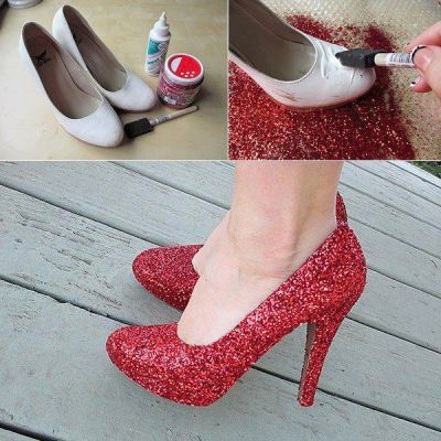DIY Shoes  http://Myhoneysplace.com thinking of doing this with purple for my wedding shoes