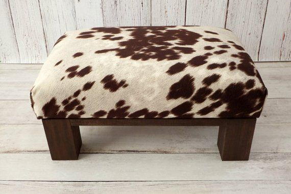Swell Upholstered Ottoman Cow Print Cowhide Ottoman Fur Stool Customarchery Wood Chair Design Ideas Customarcherynet