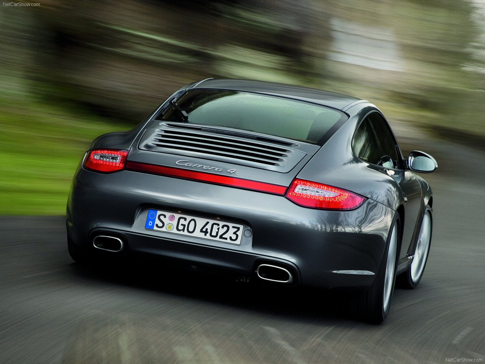 2009 grey porsche 911 carrera 4 wallpaper rear view