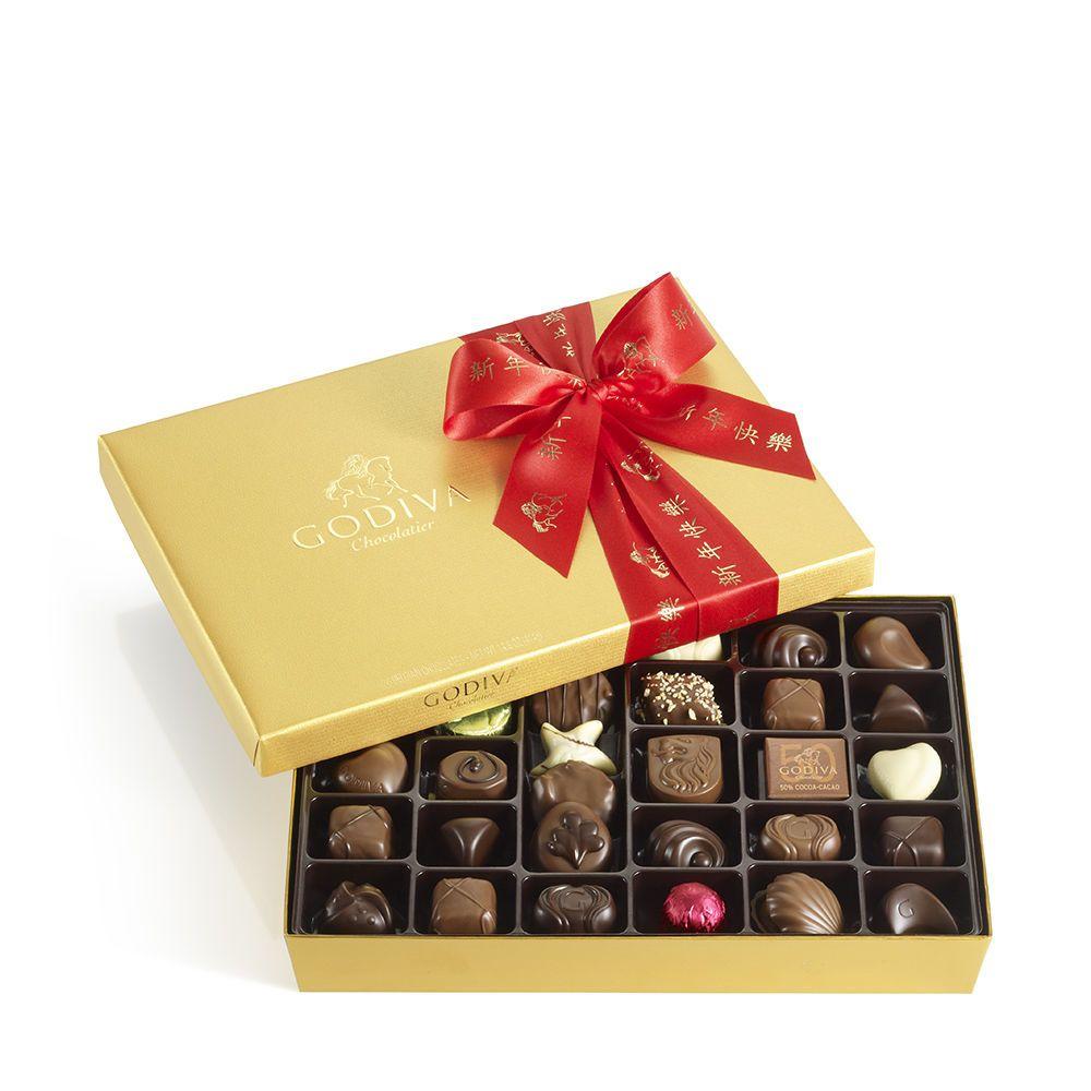 Assorted Chocolate Gold Gift Box, Chinese New Year Ribbon