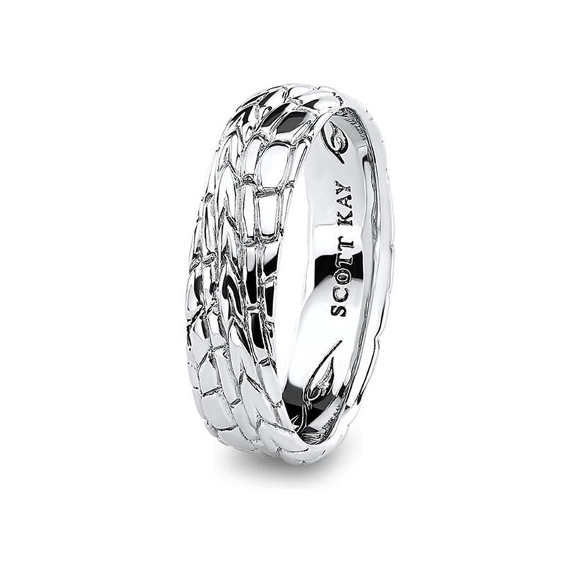 14kt White Gold H Si Mens Wedding Band From The Gator Collection By Scott Kay 6 Mm Mens Wedding Bands Wedding Bands White Gold