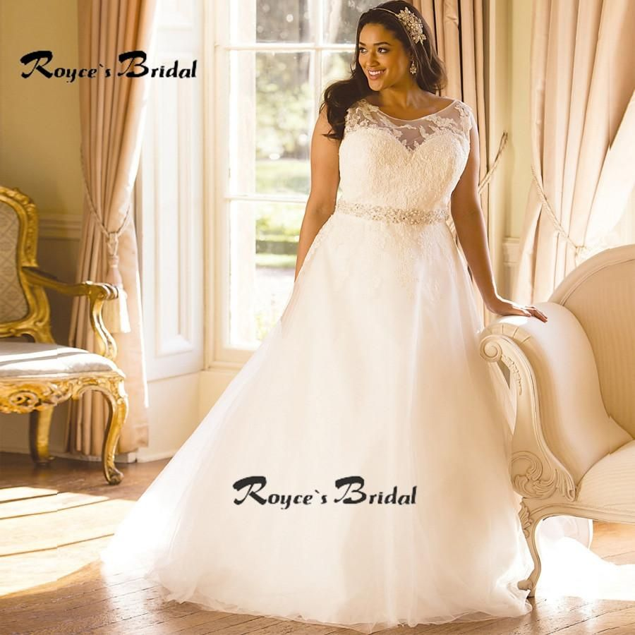 Plus size tulle wedding dress   African Wedding Dresses Plus Size Scoop Aline Tulle
