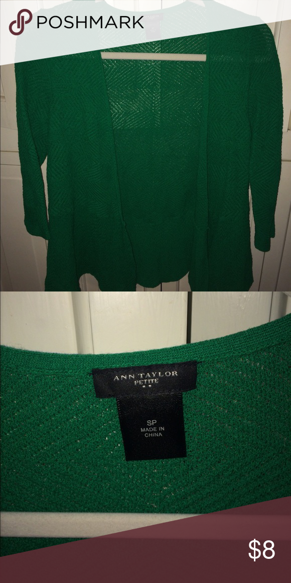 💕Ann Taylor Cardigan Green Cardigan that flares a tad bit in the arms, no tags.           I do NOT do trades, but I DO accept reasonable offers through offer button ONLY (minimum $5)😊 If you have any questions, please ask in the comment section! 💕 If you do sell vintage Nike or Adidas please let me know, and I will check out your closet! Thanks ✨✨ Ann Taylor Tops