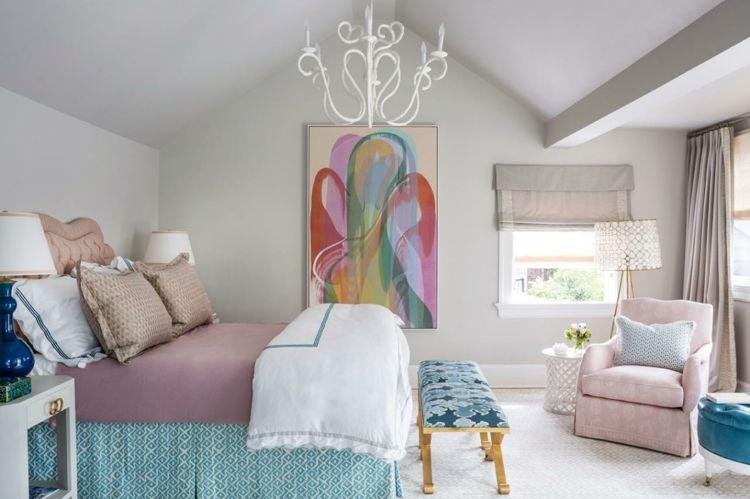 Schlafzimmer Rosa ~ Farbe mauve tagesdecke deko bett rosa nuancen grau schlafzimmer