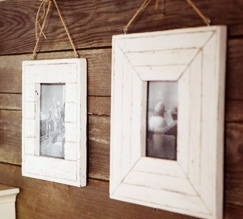cottage picture frames hung with twine for $29 - DIY with scrap wood ...