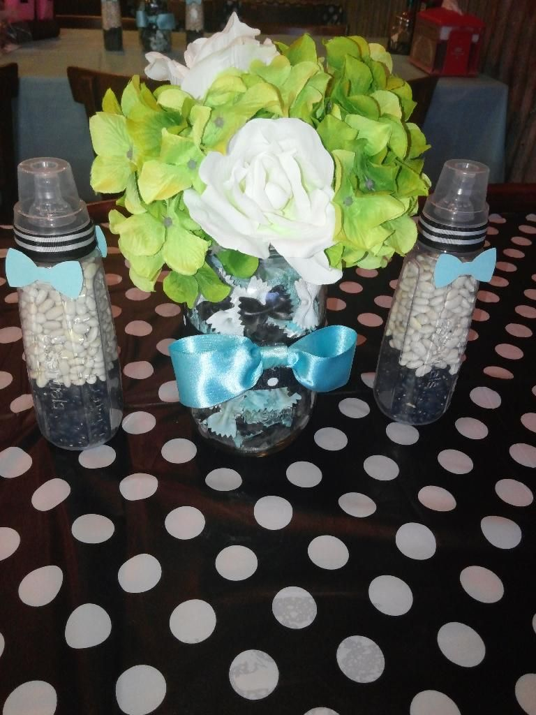 Bow Ties And Bottles Themed Baby Shower Centerpieces Mason Jars Filled With Bow  Tie Pasta #