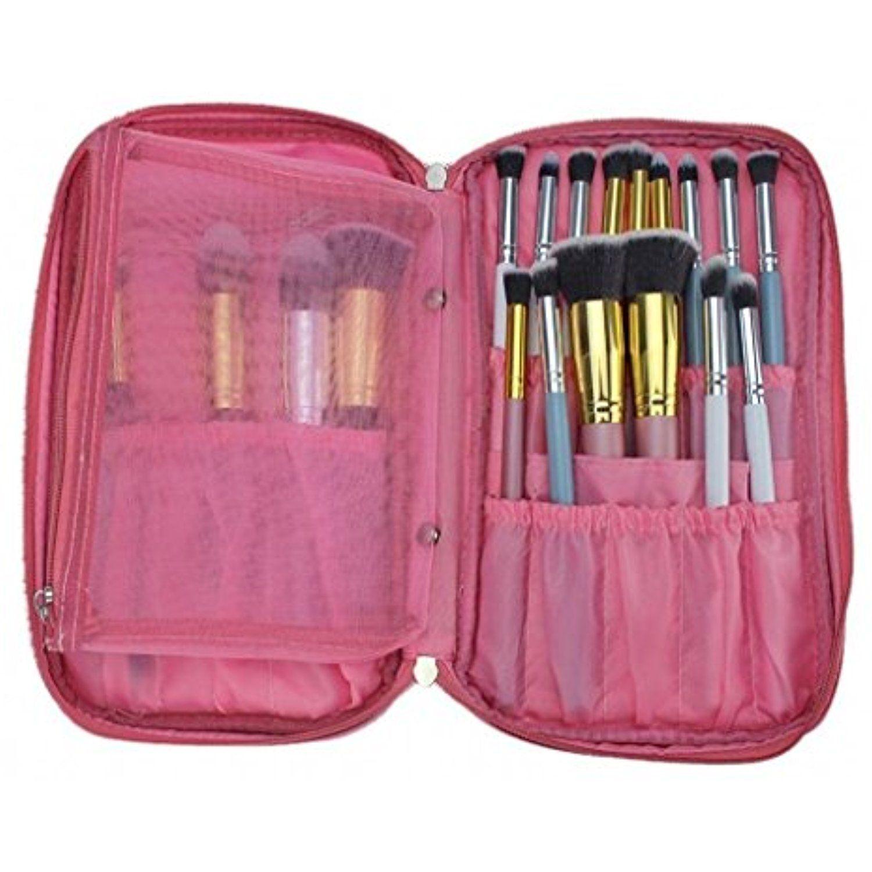 Bestfire Professional Makeup Brush Bag Organizer Makeup Artist Case Travel Brush Bag With Belt Strap Holde Makeup Brush Bag Makeup Brush Holders Makeup Storage