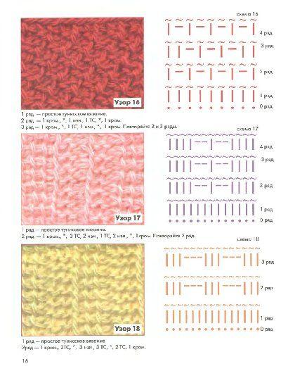 Вязание тунисским крючком со схемами