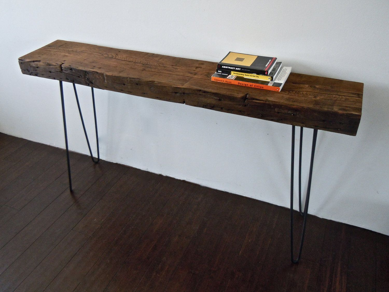 iron wood console table reclaimed wood console table with iron hairpin legs for 4803