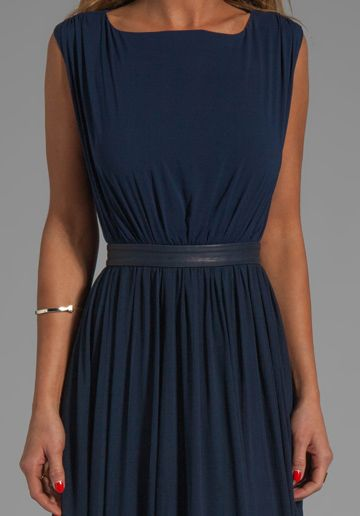 2f0ad84149 ALICE + OLIVIA Triss Sleeveless Maxi Dress with Leather Trim in Navy - Alice  + Olivia