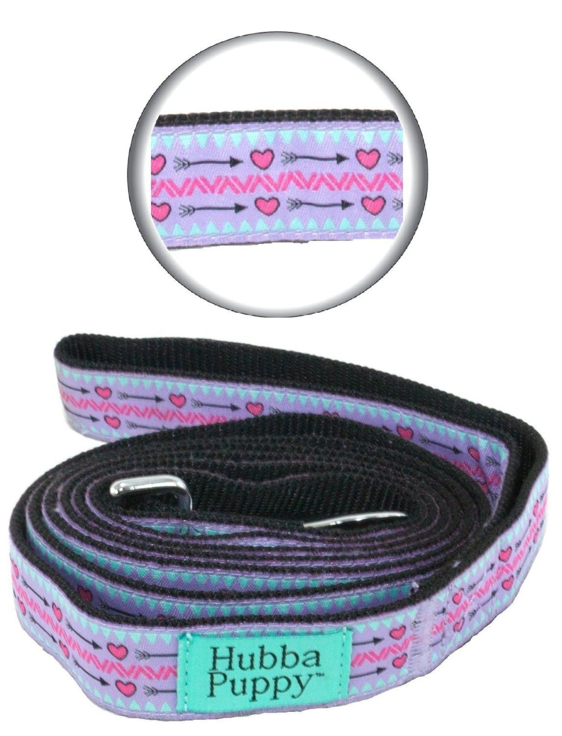 Hearts and Arrows Leash Purple Lilac and Hot Pink 6 ft Length