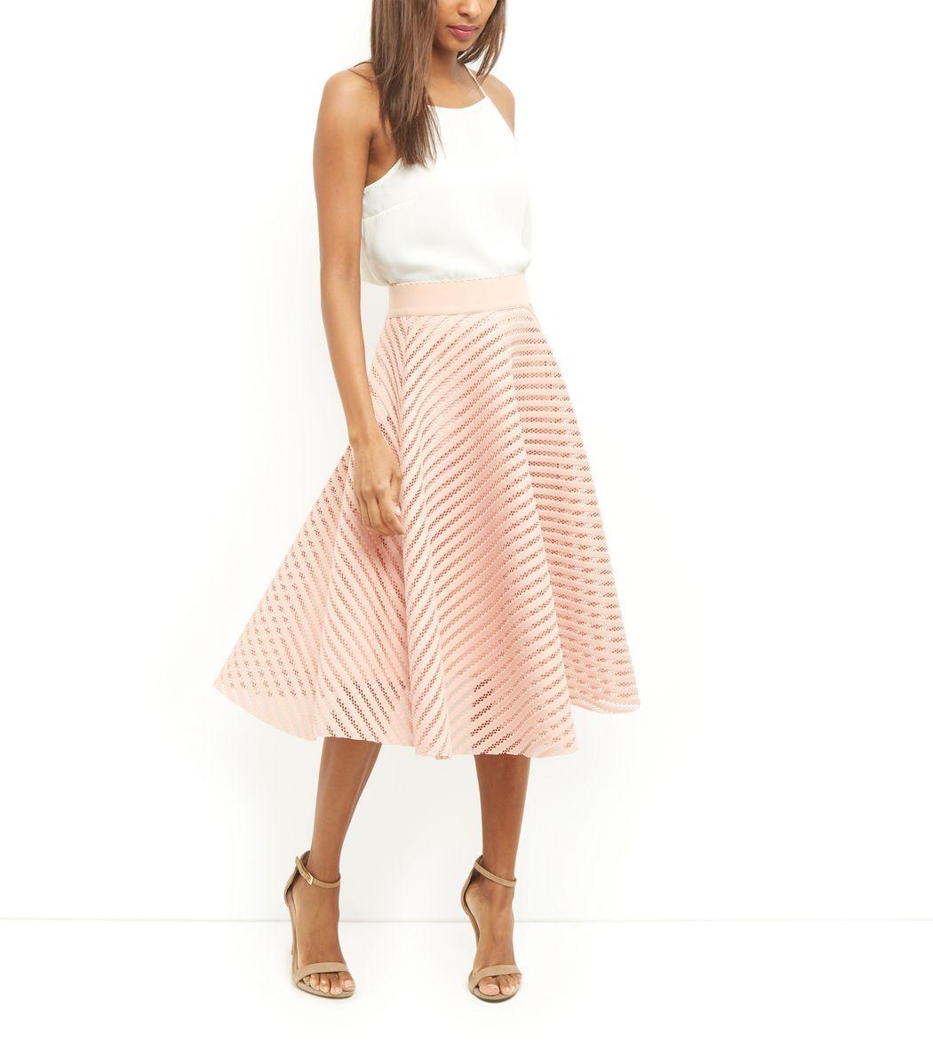 Shell Pink Mesh Stripe Midi Skirt   Mode femme   Pinterest   Skirts ... 876d42a956