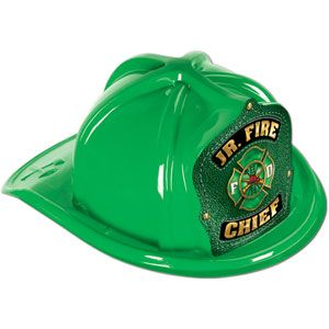 Green Plastic Jr Fire Chief Ha