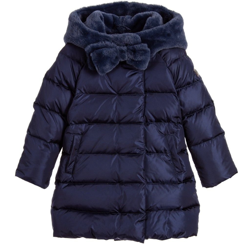 Girls Navy Blue Down Padded Puffer Coat
