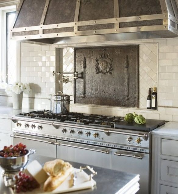 LOVE!!!!!! Dream Kitchen!!! Lacanche Range Cooker With Ornate French Farmhouse Style Mantel