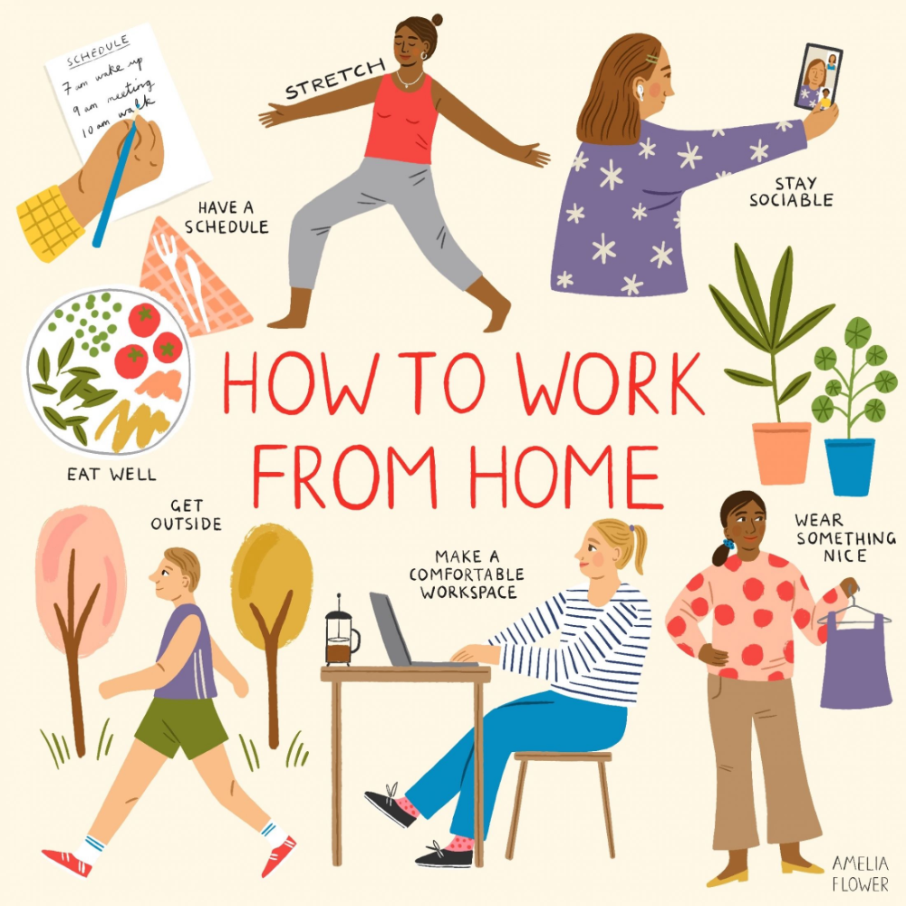 Amelia Flower S Humorous Stay At Home Postcards Inspired By Life Under Lockdown Creative Boom In 2020 Funny Postcards Stay At Home Working From Home