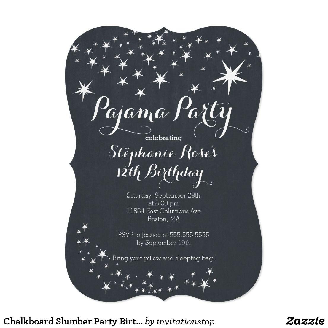 Chalkboard Slumber Party Birthday Party Invitation | Slumber party ...